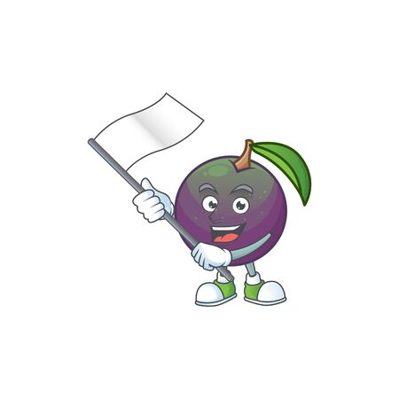 With flag star apple character in cartoon mascot vector illustration Ilustração