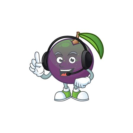 With headphone star apple character in cartoon mascot vector illustration