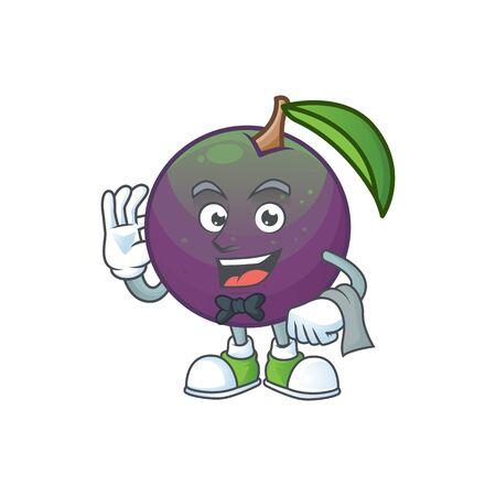 Waiter star apple fruit shape character mascot. vector illustration Foto de archivo - 129816628
