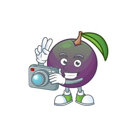Photographer star apple fruit shape character mascot. vector illustration