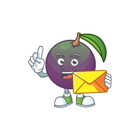 With envelope ripe star apple character on white background vector illustration Stock Illustratie