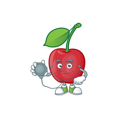 Doctor bing cherries isolated mascot in character vector illustration  イラスト・ベクター素材