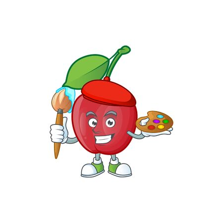 Painter bing cherries isolated mascot in character vector illustration