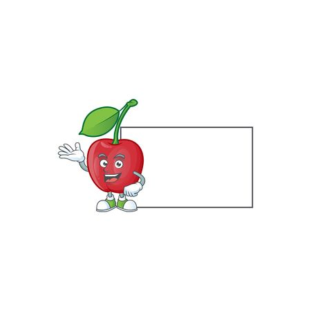 With board bing cherries isolated mascot in character vector illustration