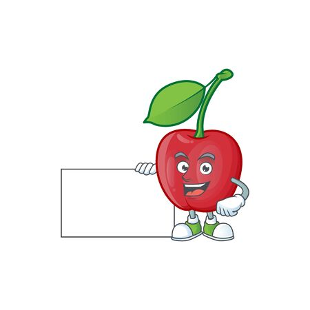 Thumbs up with board bing cherries isolated mascot in character vector illustration