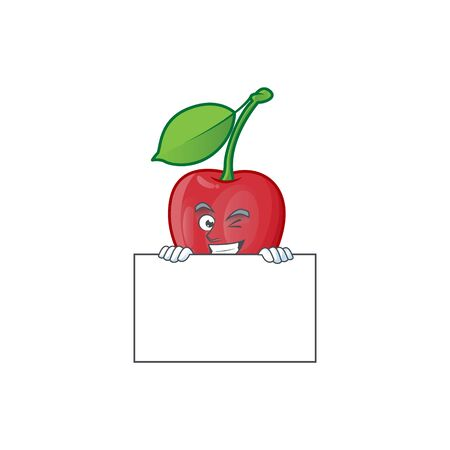 Grinning with board bing cherries isolated mascot in character vector illustration