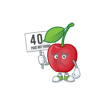 Pouting with bring board bing cherries isolated mascot in character vector illustration