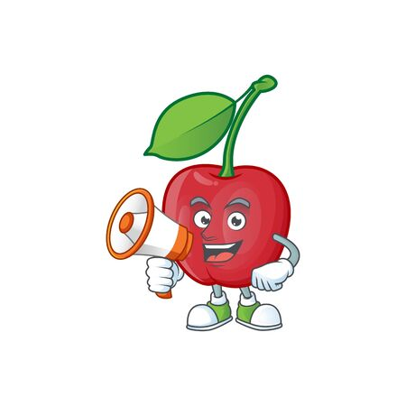 With megaphone bing cherries isolated mascot in character vector illustration