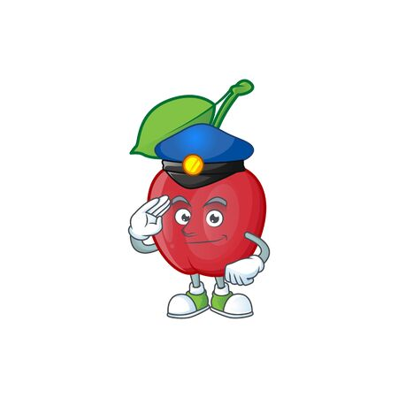 Police bing cherries isolated mascot in character vector illustration
