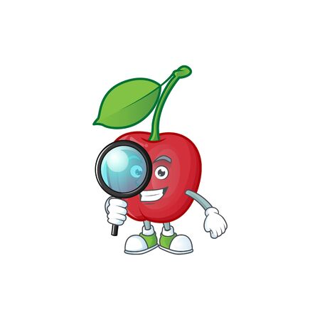 Detective cartoon bing cherries on white background vector illustration Ilustracja