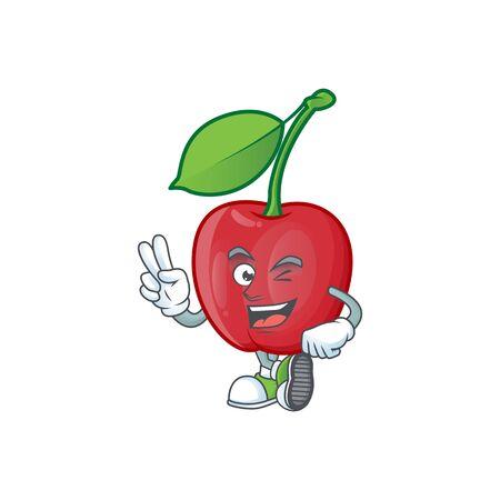 Two finger cartoon bing cherries on white background vector illustration