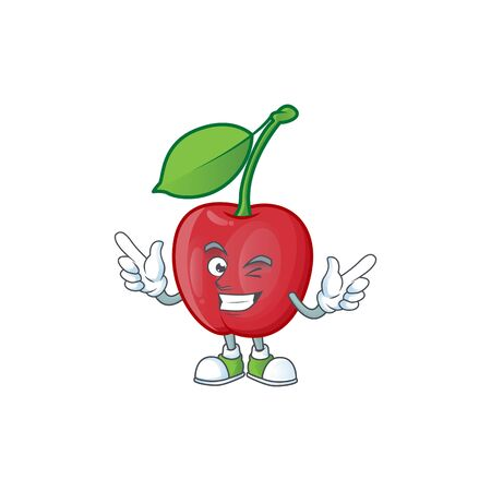 Wink cartoon bing cherries on white background vector illustration