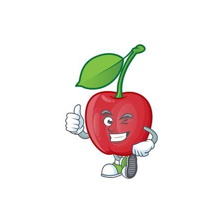 Thumbs up cartoon bing cherries on white background vector illustration