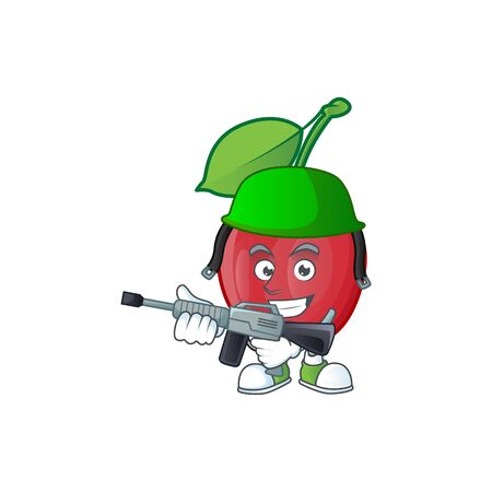 Army bing cherries isolated mascot in character vector illustration