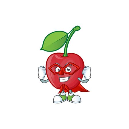 Super hero cartoon bing cherries on white background vector illustration