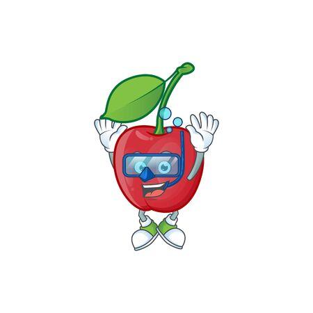 Diving cartoon bing cherries on white background vector illustration Stock Illustratie