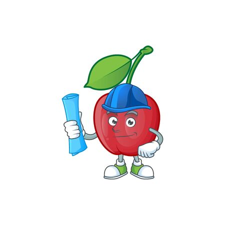Architect cartoon bing cherries on white background vector illustration Stock Illustratie