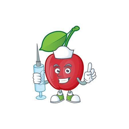 Nurse cartoon bing cherries on white background vector illustration