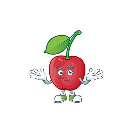 Grinning cartoon bing cherries on white background vector illustration