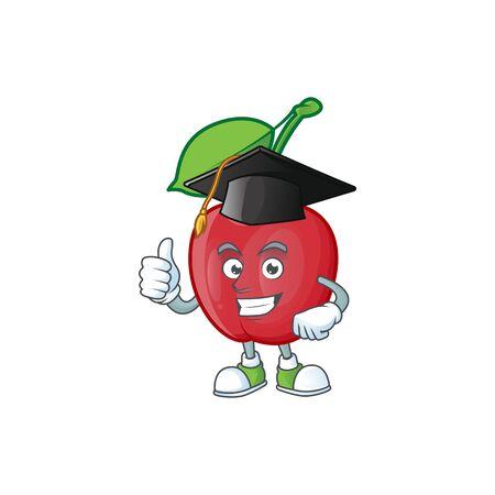 Graduation cartoon bing cherries on white background vector illustration Stock Illustratie