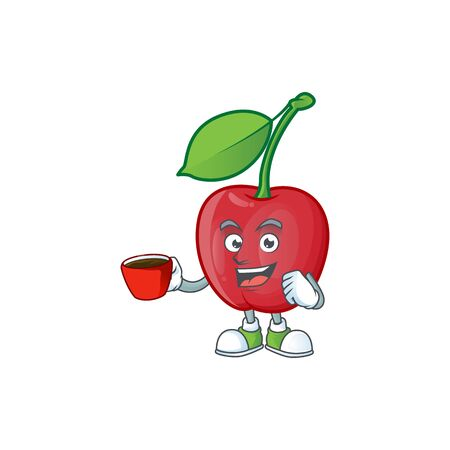 Drinking in cup cartoon bing cherries on white background vector illustration