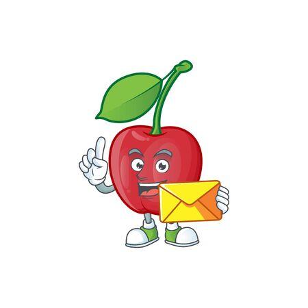With envelope cartoon bing cherries on white background vector illustration