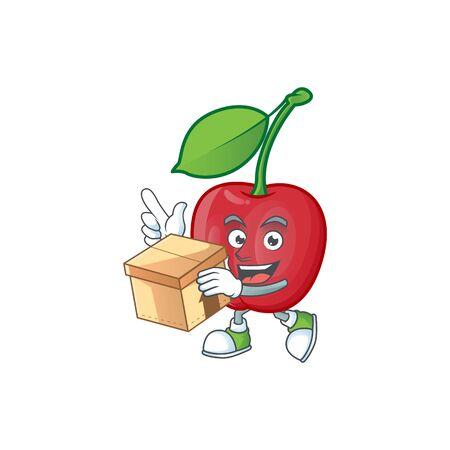 With box cartoon bing cherries on white background vector illustration Stock Illustratie
