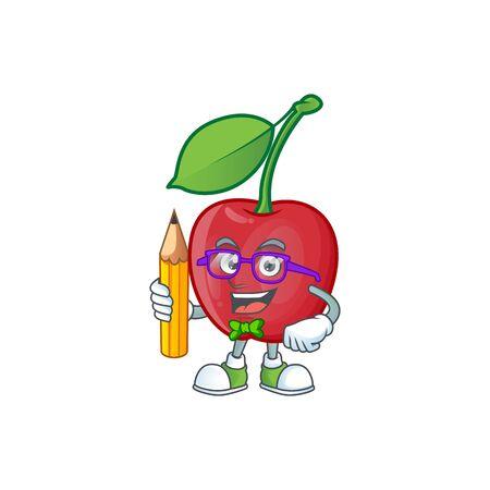 Student cartoon bing cherries on white background vector illustration Stock Illustratie