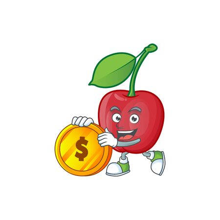 Bring coin bing cherries fresh for design character vector illustration