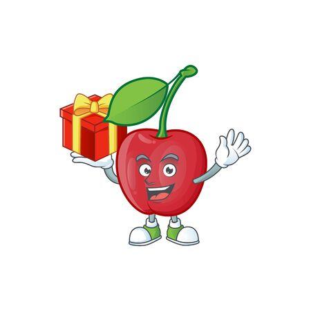 Bring gift bing cherries fresh for design character vector illustration
