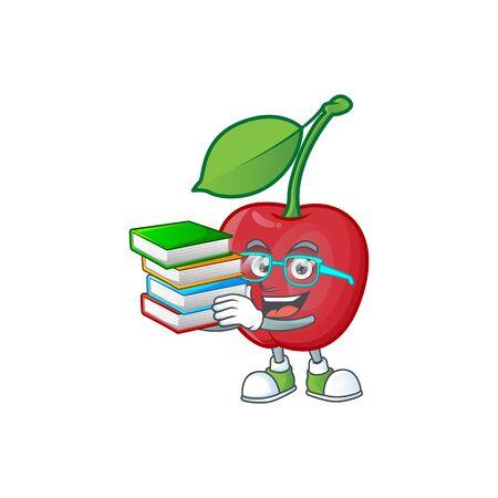 Student with book bing cherries fresh for design character vector illustration Stock Illustratie