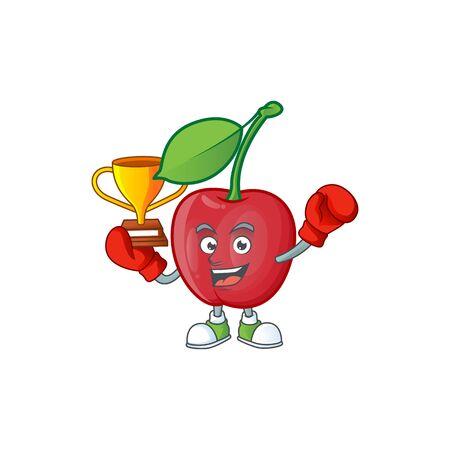 Boxing winner bing cherries fresh for design character vector illustration