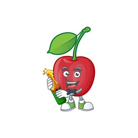With beer bing cherries fresh for design character vector illustration