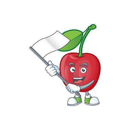 With flag bing cherries fresh for design character vector illustration