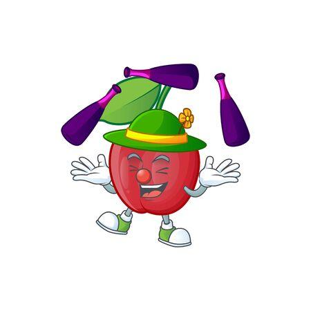 Juggling bing cherries fresh for design character vector illustration