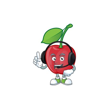 With headphone bing cherries fresh for design character vector illustration Stock Illustratie