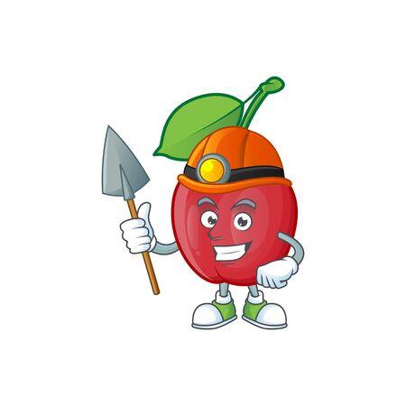 Miner bing cherries sweet in character mascot shape. vector illustration