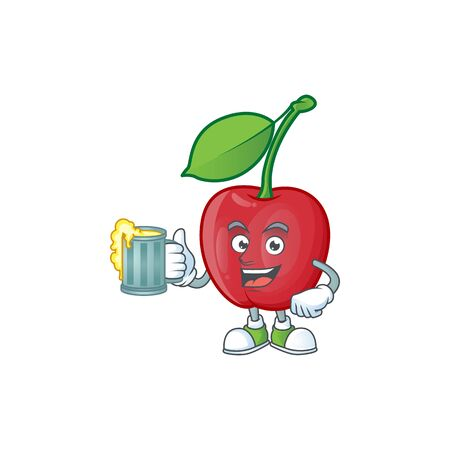 With juice bing cherries sweet in character mascot shape. vector illustration