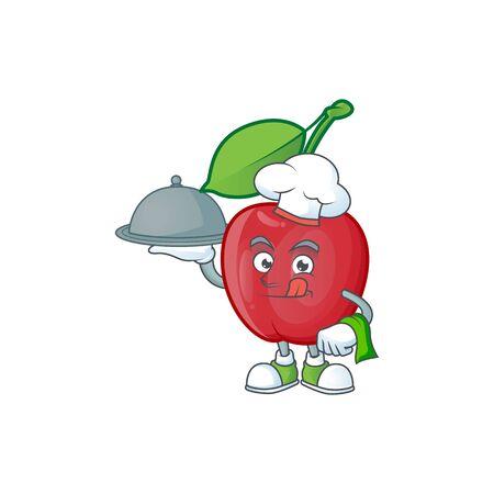 Chef with food bing cherries sweet in character mascot shape. vector illustration Stock Illustratie