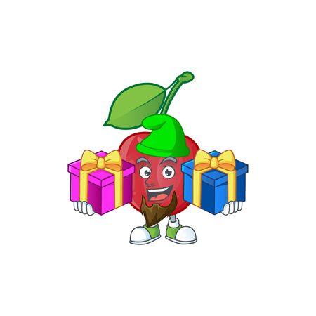 Bring two gifts bing cherries fresh for design character vector illustration Stock Illustratie