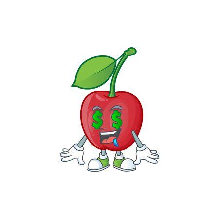 Money eye bing cherries fresh for design character vector illustration