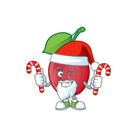 Santa with candy bing cherries fresh for design character vector illustration