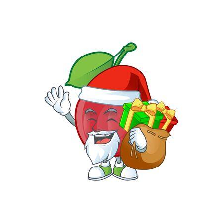 Santa with gift bing cherries fresh for design character vector illustration Stock Illustratie