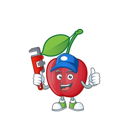 Plumber bing cherries fresh for design character vector illustration Stock Illustratie