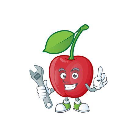 Mechanic bing cherries fresh for design character vector illustration Stock Illustratie