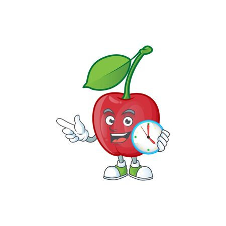 With clock cartoon bing cherries on white background vector illustration