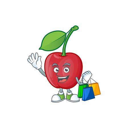 Shopping cartoon bing cherries on white background vector illustration