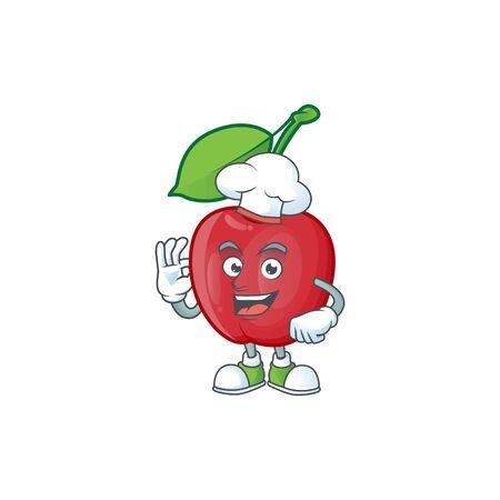 Chef cartoon bing cherries on white background vector illustration