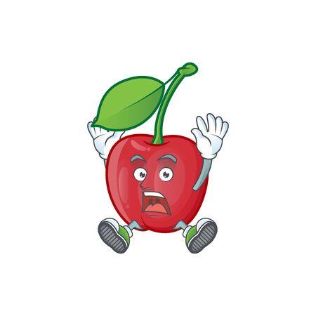 Successful cartoon bing cherries on white background vector illustration Stock Illustratie