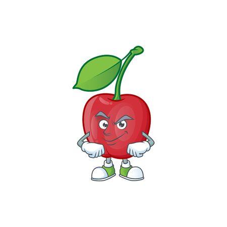 Smirking cartoon bing cherries on white background vector illustration